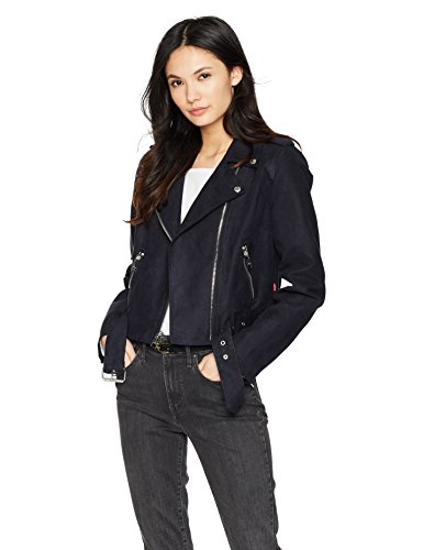 Levi's Women's Faux Suede Asymmetrical Belted Motorcycle Jacket, Navy, Extra Large (Leather Belted Motorcycle Jacket)