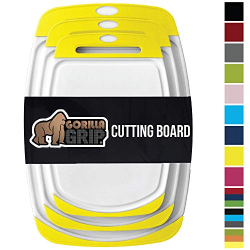 GORILLA GRIP Original Reversible Cutting Board, 3-Piece, BPA Free, Juice Grooves, Larger Thicker Boards, Easy Grip Handle, Dishwasher Safe, Non-Porous, X-Large, Kitchen, Set of 3, Lemon Yellow (Best Knife For Cutting Lemons)