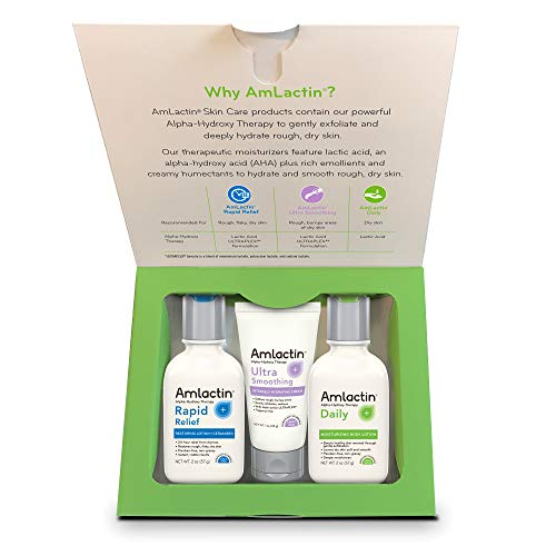 AmLactin 3-Piece Travel Set, Daily Lotion, Rapid Relief, 2 Ounce Bottles, Ultra Smoothing, 1 Ounce Tube