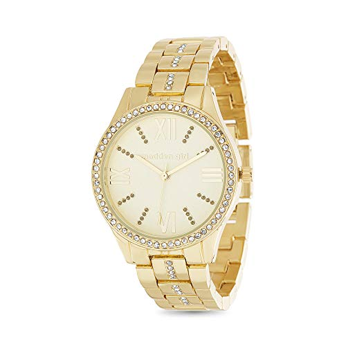 Madden Girl Yellow Gold Tone Roman Numeral Rhinestone Accent Watch for Women