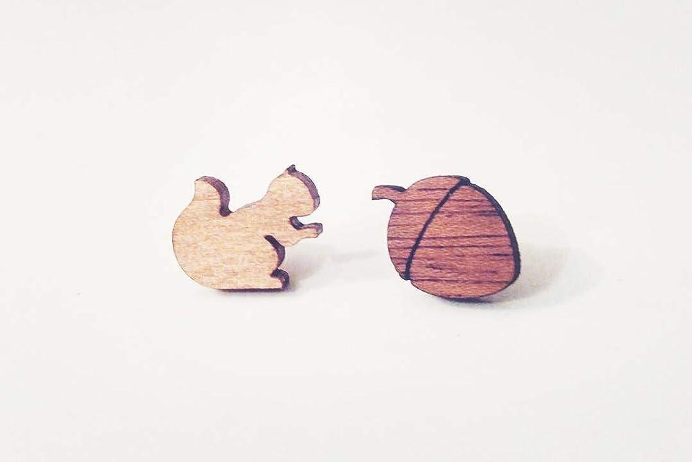 squirrel wood jewelry hand painted earrings mismatched jewelry acorn earrings Mismatched squirrel acorn stud earrings wildlife animal