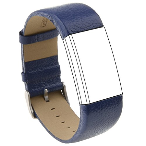Leather Replacement Band for Fitbit Charge 2, Fitbit Charge 2 Leather Band, Charge 2 Band Strap Style (No Track) (Blue, Small) - Track Style Leather