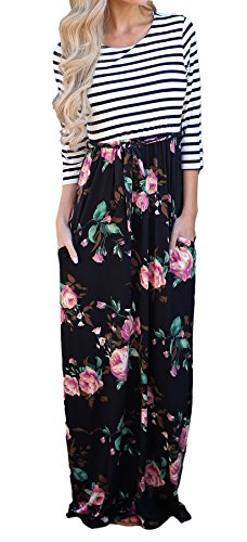 Bluetime Women's 3/4 Sleeve Stripe Floral Print Swing Shift Maxi Long Casual Beach Dresses (XXL, 02-Black)