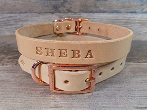 (Handmade Personalized Off-White Leather Dog Collar with Rose Gold -Tone Hardware and FREE Engraved Name, Choose Your Font)