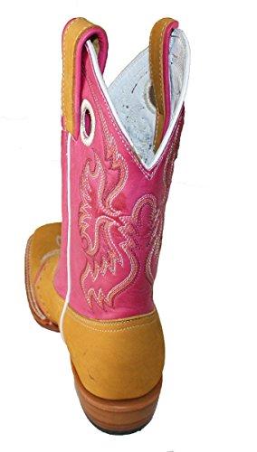 Dona Michi Kvinna Läder Cowboystövlar Roper Västra Rodeo Biker Chick Honung / Rosa