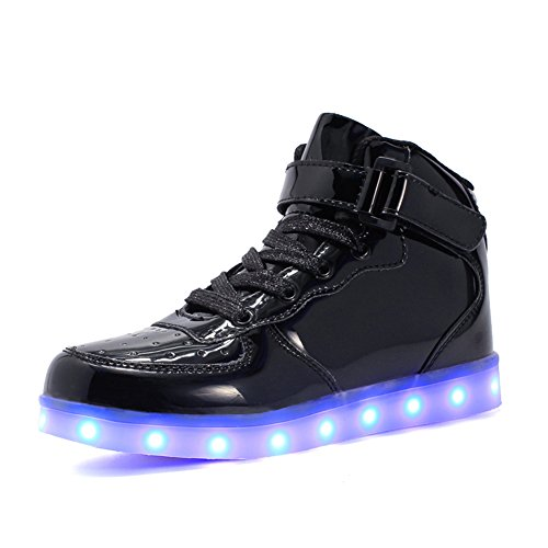 Shoes That Light Up (Voovix Kids LED Light Up High-top Shoes Rechargeable Hi-Shine Glowing Sneakers for Boys and Girls Child)
