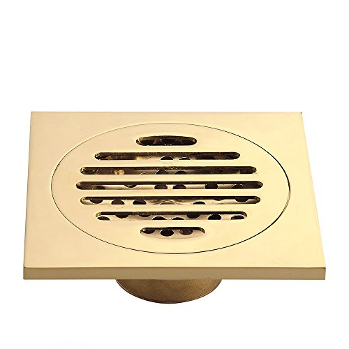 Gold Shower Drain - HARPOON Copper Bathroom Floor Drain Square Shower Sink Drain Strainer, Gold (F)