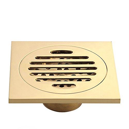 HARPOON Copper Bathroom Floor Drain Square Shower Sink Drain Strainer, Gold (F)
