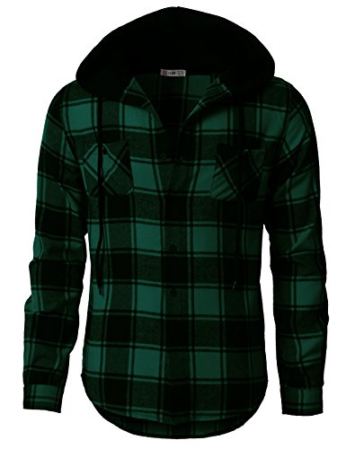 H2H Mens Casual Flannel Shirts Hoodie Jacket Green US XL/Asia 2XL (CMOJA0105) by H2H (Image #2)