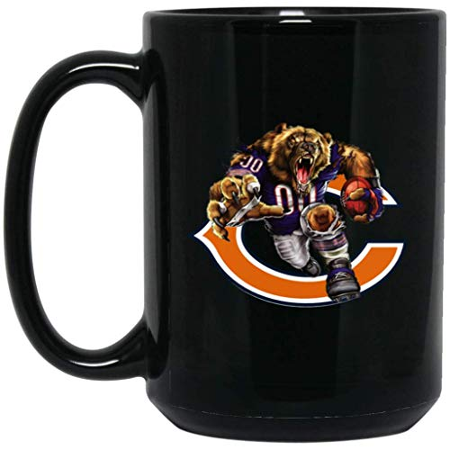 Chicago Bears Coffee Mug Chicago Bruiser Bear Player v2 Mug 15 oz Black Ceramic Cup Great for Hot Chocolate and Tea NFL NFC Football Perfect Gift for any Windy City Chicago Bears Fan -