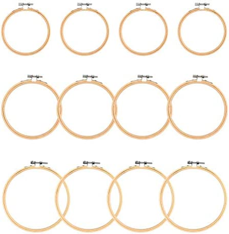 Diameter from 5.9 inch to 10.2 inch Ohlily 5 Pieces Embroidery Hoops Bamboo Round Cross Stitch Hoop Ring Set