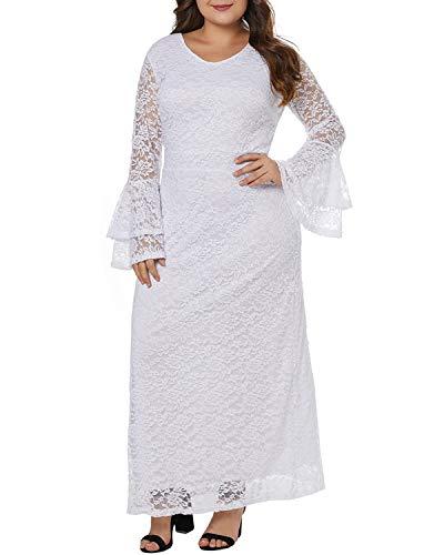 Xl Pizzo White Sera Lungo Campana Size color Elegante Lunghe Donna Olprkgdg Da In White Maxi A Abito Maniche waqcz7FT
