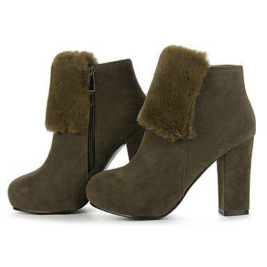 Heart&M Mujer Zapatos Aterciopelado Otoño Invierno Botas de Moda Botas Tacón Robusto Dedo redondo Botines Hasta el Tobillo Cremallera Para Vestido army green