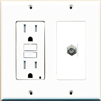 RiteAV GFCI 15 Amp Toma de Corriente y Cable coaxial TV Placa De Pared Blanco
