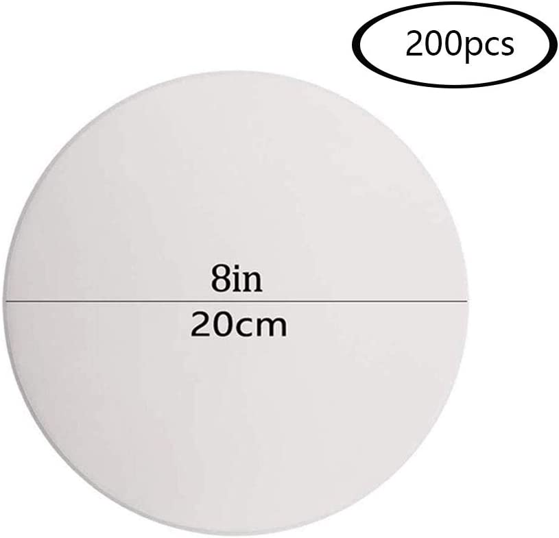 Yxhome 200pcs Round Baking Greaseproof Paper,8 Inch 20cm Cooking,Loaf Tin Liners Non-Stick Pre-Cut Baking Parchment Paper for Baking Cake