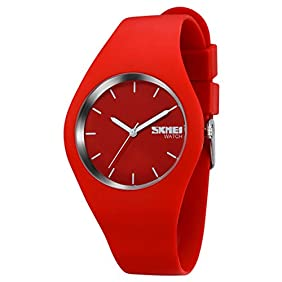 Sports Casual Women's Analog Quartz Water Resistant Fashion Silicone Strap Watch ,Simple Watch with Red Band