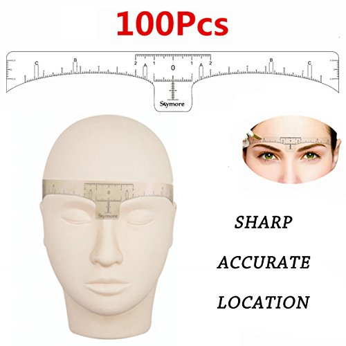 Eyebrow Ruler,100Pcs Disposable Eyebrow Ruler Sticker, Adhesive Eyebrow Microblading Ruler Guide For makeup tool by Skymore
