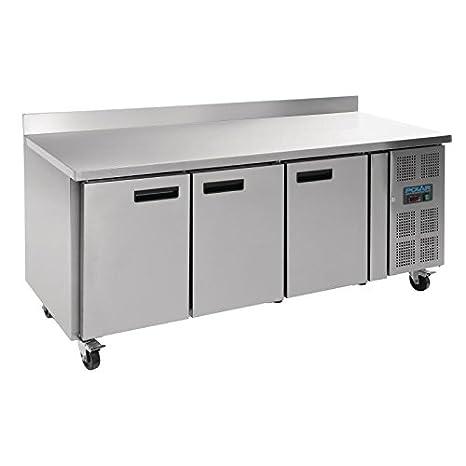 Polar Counter - Congelador de 3 puertas con soporte, 417 L, acero ...