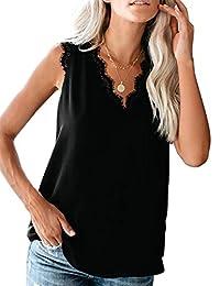 Eddoyee Camisola Cuello en V Suelta de Verano para Mujer Estilo Casual en Vacaciones