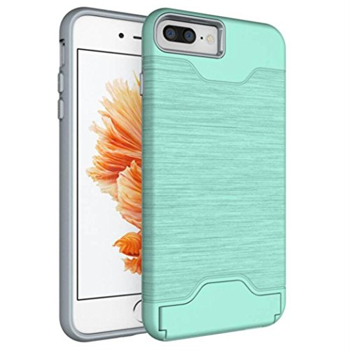 Price comparison product image Sympath Slim Kickstand Credit Card Cover Case for iPhone 8 plus 5.5 inch (Mint Green)