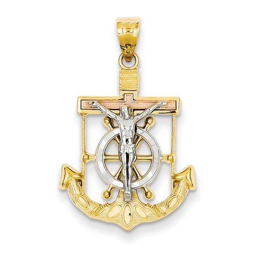 Icecarats Créatrice De Bijoux 14K Tricolore Diamant Coupé W / Marins Texturés Pendentif Croix