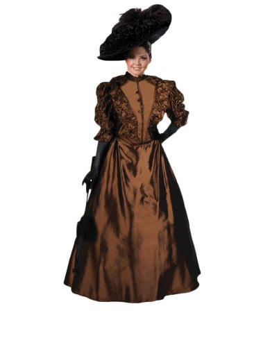 [Women's Brown Victorian Era Annie Dress Theater Costume M] (Victorian Era Womens Costumes)