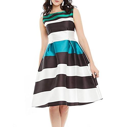 f10f59c54b CLOCOLOR Vestido corto A-line cóctel para mujer vestido sin mangas bloque  de color de