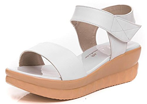 CHFSO Womens Casual Solid Open Toe Velcro Mid Wedge Heel Platform Beach Sandals White rTwap4
