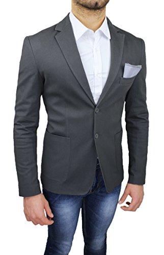 Elegante Con Grigio Aderente Taschino Slim Blazer Da Scuro Fit Giacca Uomo Pochette Casual AqtSFz