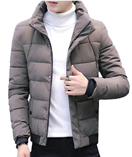 Keaac Men Short Down Jacket Stand Collar Thicker Winter Warm Jacket
