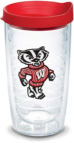 Tervis 1060854 Wisconsin Badgers Bucky Badger Mascot Tumbler with Emblem and Red Lid 16oz, Clear