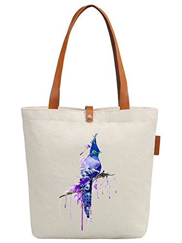 So'each Women's Bird Art Paniting Graphic Top Handle Canvas Tote Shoulder Bag