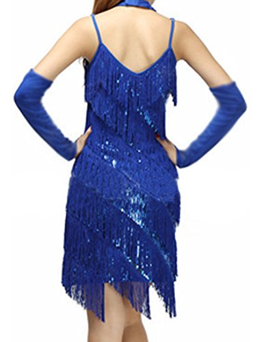 Funcionamiento Vestidos Lentejuela Danza Latino Correa Zafiro Borla Bailes Latina Mujer Ox6Fq0Iw0
