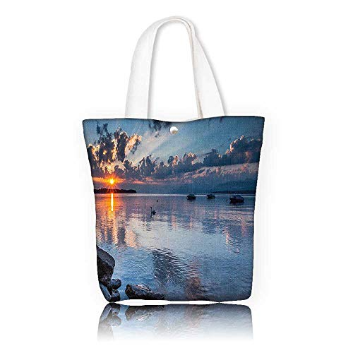 Women's Canvas Tote Bag —W21.7 x H14 x D7 INCH/Reusable Canvas Tote Bag Printed 100% CottonLandscape Sun Rising at Lake Geneva Switzerland Seascape Cloudy Sky Scenic View Photo Blue Grey ()