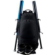 Baseball/Softball Travel Backpack Gear Bag (Cleat Compartment, 2 Bats, Metal Fence Hook)