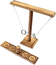 Ring Toss Games, Craggy Hook Games for Kids Adults- Handmade Wooden Ring Tossing Throwing Games with Shot Ladd