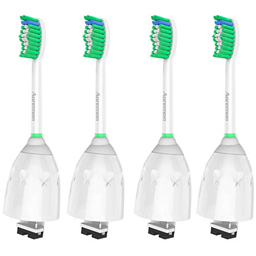 Aoremon Standard Replacement Brush Heads Compatible with Philips Sonicare e-Series HX7022/66(4 Pack), Fit Sonicare Essence, Xtreme, Elite, Advance, and CleanCare Electric Toothbrush with Hygienic Caps