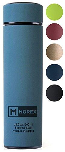 Morex Coffee Thermos, Stainless Steel Water Bottle, Thermos Bottle, Vacuum Insulated Water Bottle, Thermos Water Bottle, FDA Approved with Tea Infuser, Capacity: 500ml/16.9 oz. Dark Blue / Malachite