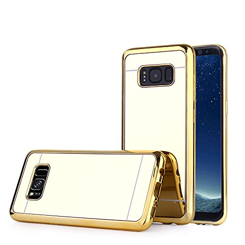 Price comparison product image TabPow Galaxy S8 Case, Improved Mirror Reflection, Scratch-Resistant Bling Luxury Slim TPU PC Case Cover For Samsung Galaxy S8 (2017) - Gold