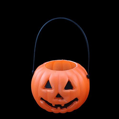 VANKER 2Pcs Cute Plastic Pumpkin Bucket Candy Pot Holder Halloween Costume Ball Party Props Decoration(A) ()