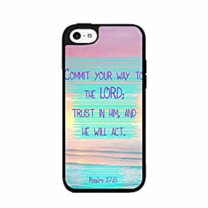 Psalms 37:5 Bible Verse Plastic Phone Case Back Cover iPhone 4 4s