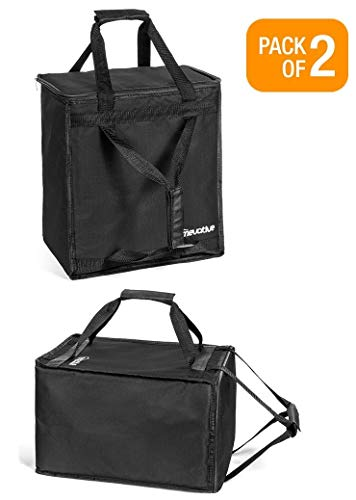 Homevative Reusable Insulated Grocery Bags Hot and Cold Food Storage for Shopping, Travel, and More. Cooler and Thermal Tote set. (Pack of 2)