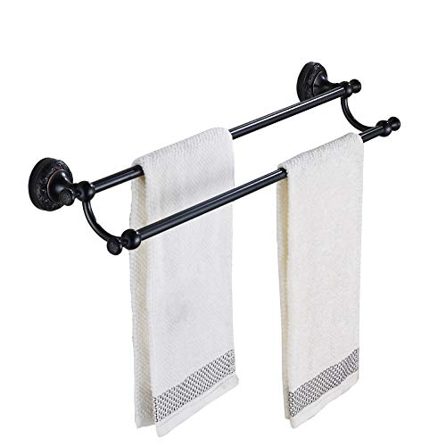 Rozin Oil Rubbed Bronze Bathroom Double Towel Bars Wall Mounted Towel Rack ()