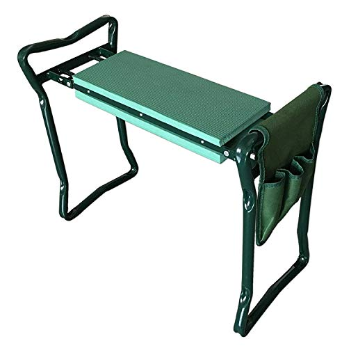 (Foldable Garden Kneeler Bench Seat With Tool Pouch and EVA Kneeling Pad Handles)