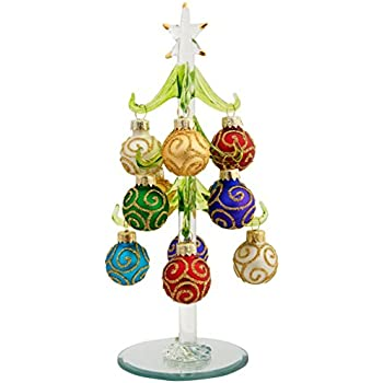 This Item LSArts Glass Christmas Tree With 12 Ornaments, Green, Swirl, 8  Inch, Gift Box