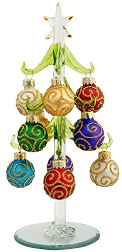 LSArts Glass Christmas Tree with 12 Ornaments, Green, Swirl, 8 Inch, Gift (Green Swirl Glass)