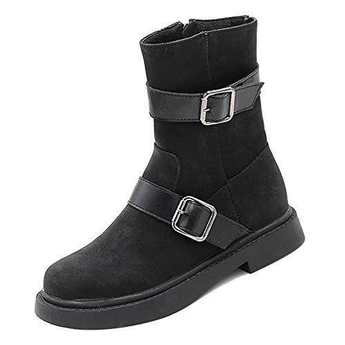 Black 7.5 US Black 7.5 US Women's Fashion Boots PU(Polyurethane) Winter Casual Boots Low Heel Mid-Calf Boots Black