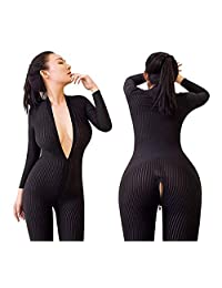 Womens Open Crotch Jumpsuits Perspective Sexy Zipper Long Sleeves Lingerie Catsuit Bodysuit Bodystockings Clubwear