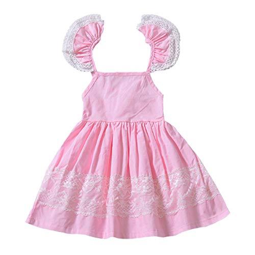 YOHA Baby Girls Lace Ruffle Jumper Dress Suspender Pinafore Toddler Skirts Pink Lace,120 ()