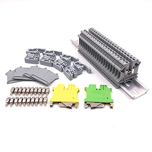 Erayco DIN Rail Terminal Blocks Kit, 20Pcs UK5N 10 AWG Terminal Blocks, 2Pcs Ground Blocks, 2Pcs Terminal Fixed Bridge Jumpers, 4Pcs E/UK End Brackets, 2Pcs D-UK3/10 End Covers, 1Pcs 8